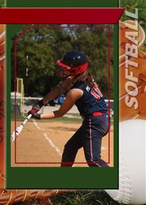 Custom softball card of hiting a ball