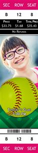 Smiling girl with glasses on a Personalized Softball Sports Photo Ticket