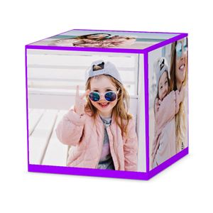 Daughter with cool shades on posing for pics with mom on a custom purple cube