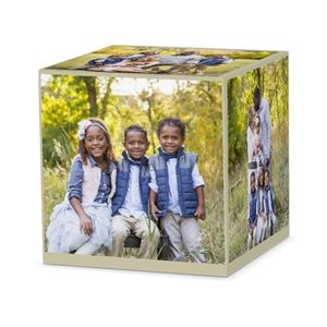 Family with two sons and a daugher posing in the woods on a custom tan cube