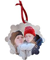 Mom and daughter playing in the snow on a Custom Metal Christmas Ornament