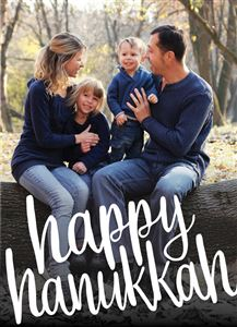 Mom and Dad with their two kids on a Custom Happy Hanukkah Card