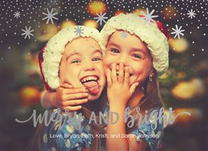 Two sisters hugging and smiling on a Custom Christmas Card