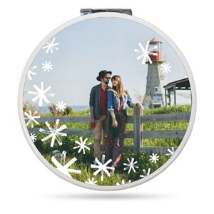Couple with their pet dog by a lighthouse on a Custom Compact Mirror