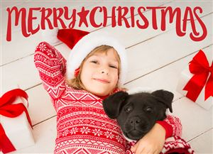 Daughter in Santa hat with her dog on a Custom Christmas Card