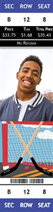 Highschooler smiles on a Personalized Street Hocket Sports Photo Ticket