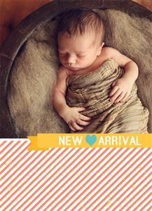Sleeping Baby on New Arrival Striped Themed Custom Photo Card