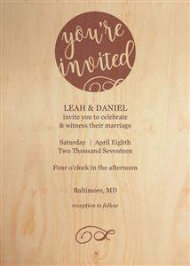 Custom Invitation on a Real Wood Photo Card