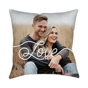 Couple hugging on a love-themed Custom Photo Pillow