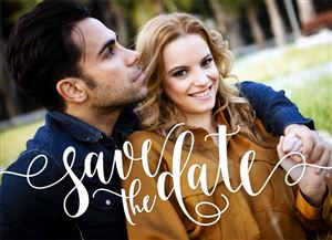 Smiling couple on a Custom Save The Date Wedding Announcement Photo Card