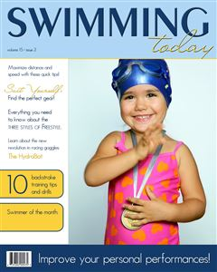 Little swimmer girl smiling and waiving on the cover of a Sports Magazine