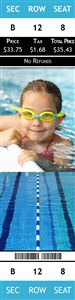 Girl in the swimming pool with goggles on a Personalized Swimming Sports Photo Ticket