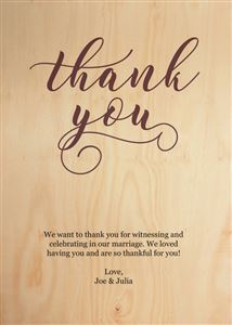 Custom Thank You Card on Real Wood