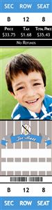 Smiling little boy on a Personalized T-Ball Sports Photo Ticket