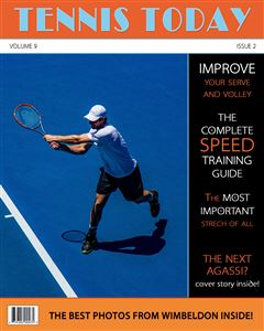 Tennis player hitting a tennis ball on the cover of a custom Sports Magazine