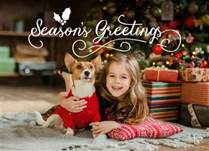 Daughter with her pet dog by the Christmas Tree on a Custom Christmas Card