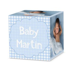 sleeping baby boy on a custom thank heaven designed cube