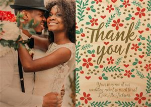 Newlywed couple on a Custom Wooden Thank You Card
