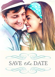 Snuggling couple on a Custom Save The Date Wedding Card