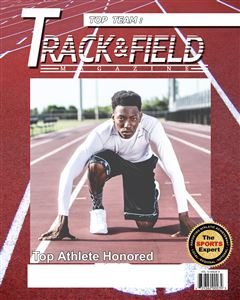 Sprinter gets ready on the track on the cover of a Sports Magazine