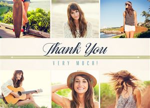 Photo gallery of a girl playing guitar and hanging out by the beach on a Custom Thank You Card