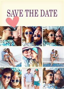 Photo gallery of engaged couple on a Custom Save The Date Wedding Card