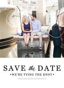 Couple on a boat dock on a Custom Save The Date Wedding Card