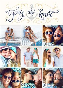 Photo gallery of engaged couple on a Tying The Knot Themed Wedding Invitation