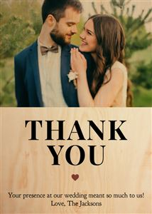 Wedding Celebration Thank You on a Custom Real Wooden Photo Card