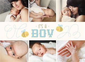 Photo gallery of sleeping baby on a Custom Birth Announcement Photo Card