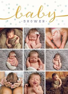 Photo gallery of sleeping baby boy on a Custom Birth Announcement Invitation
