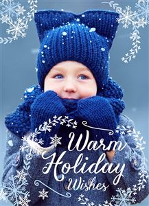 Baby in a blue winter jacket smiling on a Custom Christmas Card