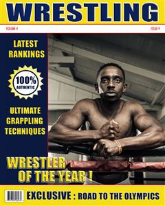Wrestler getting ready for his fight in the ring on the cover of a Sports Magazine