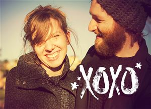 Couple on a Custom XOXO Valentines Card